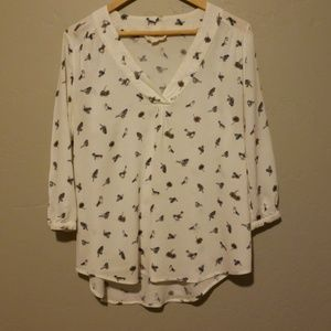 Sweet wanderer bird print blouse